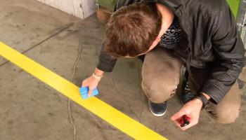 Лента для разметки пола желтая 50 мм 33 метра втулка 76 мм
