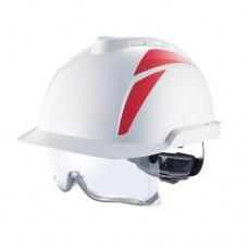 Каска защитная V-Gard 930, FasTracIII, без вентиляции, белая, красные наклейки не прикреплены.