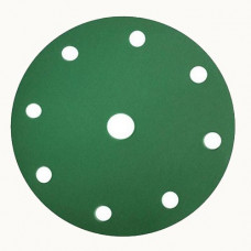 Шлифовальный круг FILM 150мм на липучке, 15 отверстий, зелёный.