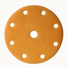 Шлифовальный круг GOLD 150мм на липучке, 9 отверстий, золотистый.