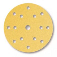 Шлифовальный круг GOLD 150мм на липучке, 15 отверстий, золотистый.